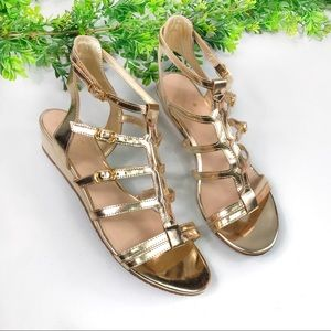 Kate Spade Gold Strappy Wedge Sandals Size 7M New